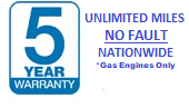 5 Years / UNLIMITED Miles NO FAULT Warranty Included FREE!